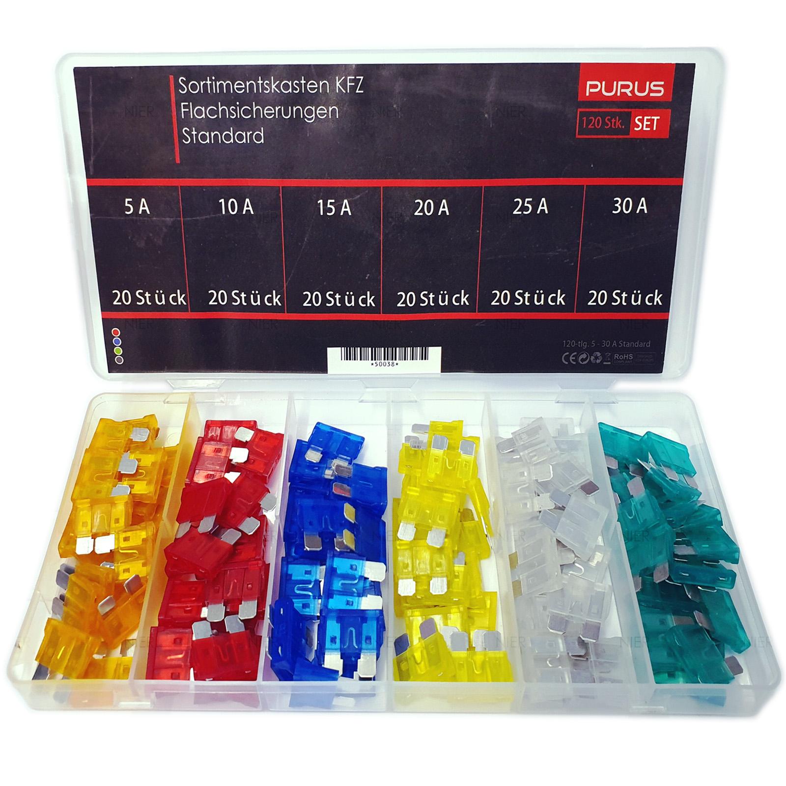 100 Stk//Box Autosicherungen KFZ Sicherungen Flachsicherung 2A-35A Sortiment Set